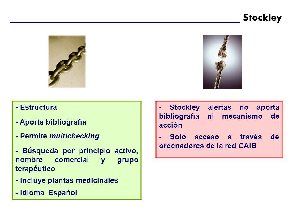 - Estructura - Aporta bibliografía - Permite multichecking - Búsqueda por principio activo, nombre comercial y grupo terapéutico - Incluye plantas med
