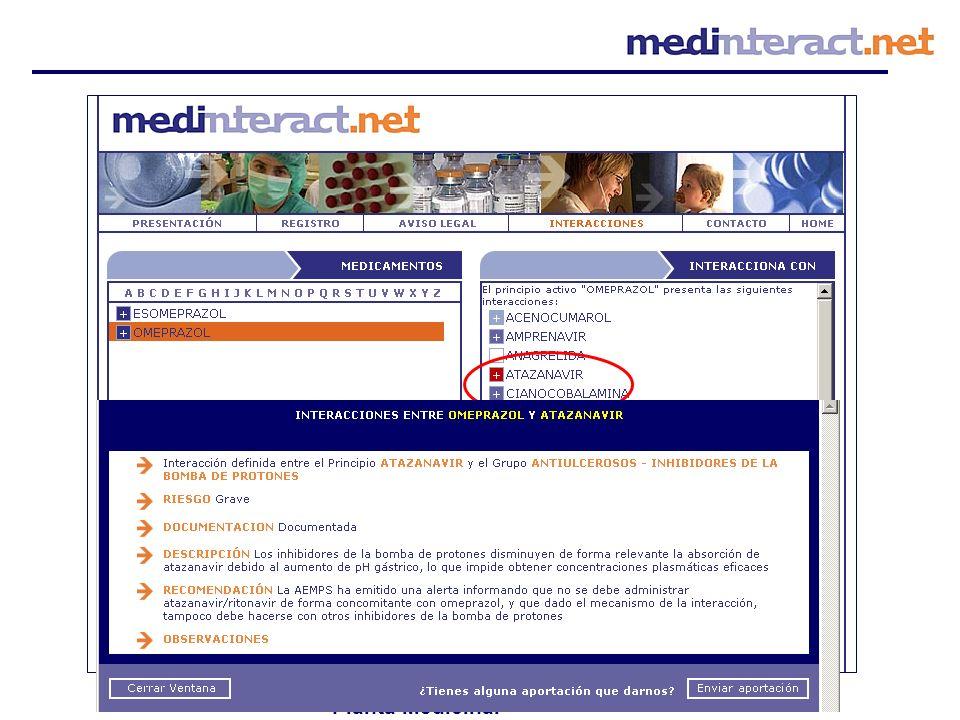 Principio activo Especialidad Grupo terapéutico Planta Medicinal NO Permite multichecking