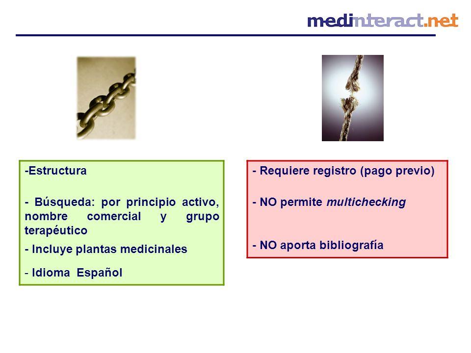 -Estructura - Búsqueda: por principio activo, nombre comercial y grupo terapéutico - Incluye plantas medicinales - Idioma Español - Requiere registro