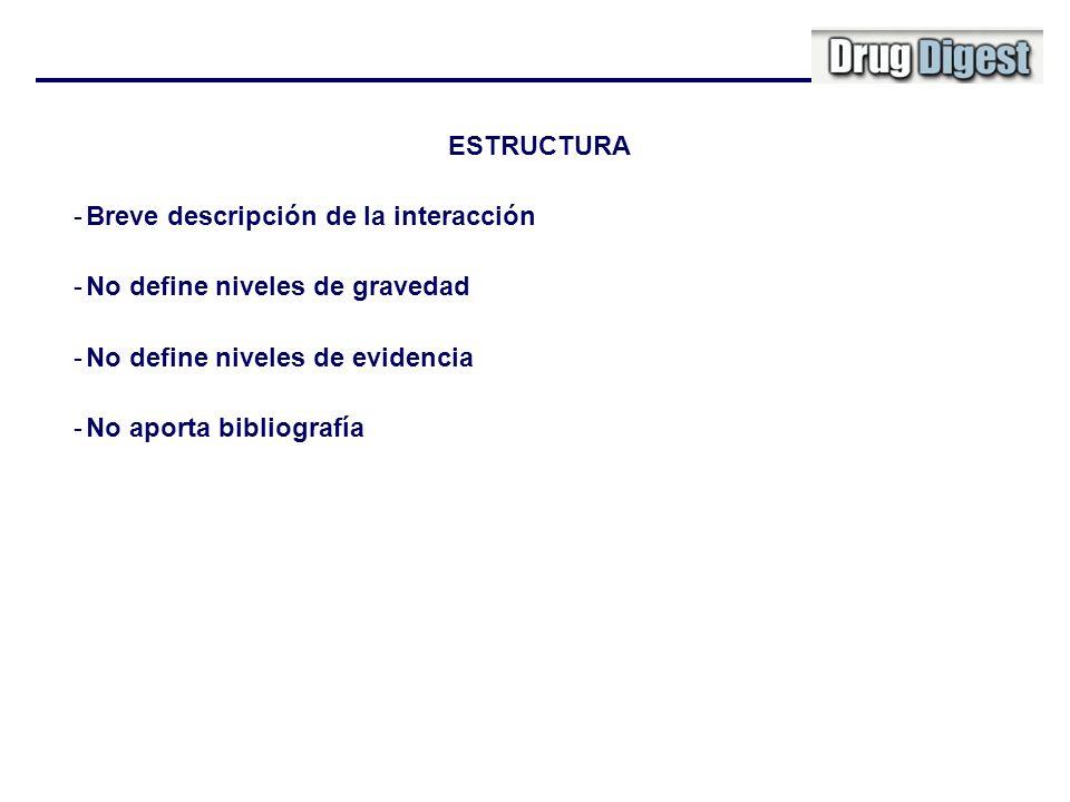 ESTRUCTURA -Breve descripción de la interacción -No define niveles de gravedad -No define niveles de evidencia -No aporta bibliografía