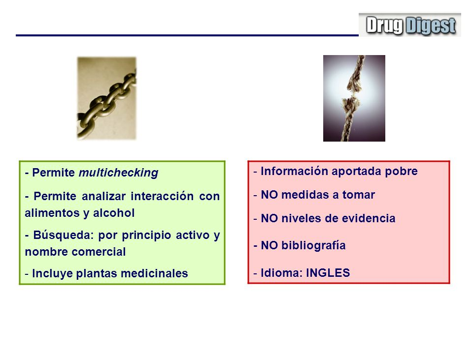 - Permite multichecking - Permite analizar interacción con alimentos y alcohol - Búsqueda: por principio activo y nombre comercial - Incluye plantas m