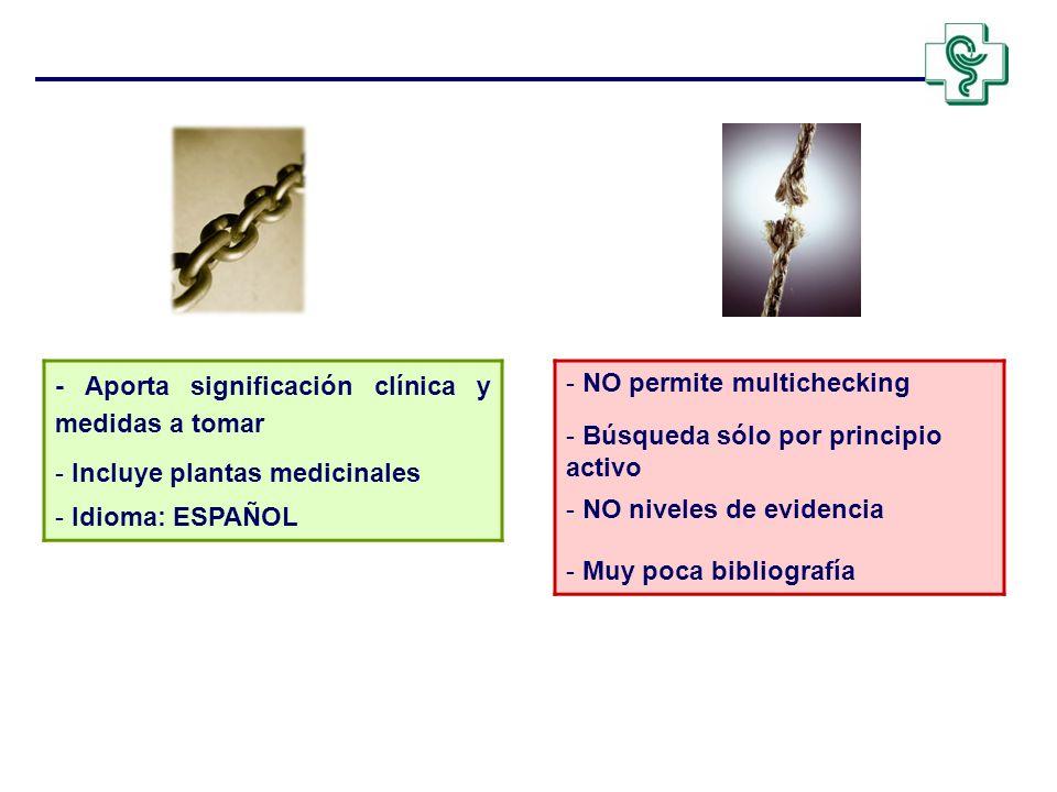 - Aporta significación clínica y medidas a tomar - Incluye plantas medicinales - Idioma: ESPAÑOL - NO permite multichecking - Búsqueda sólo por princi