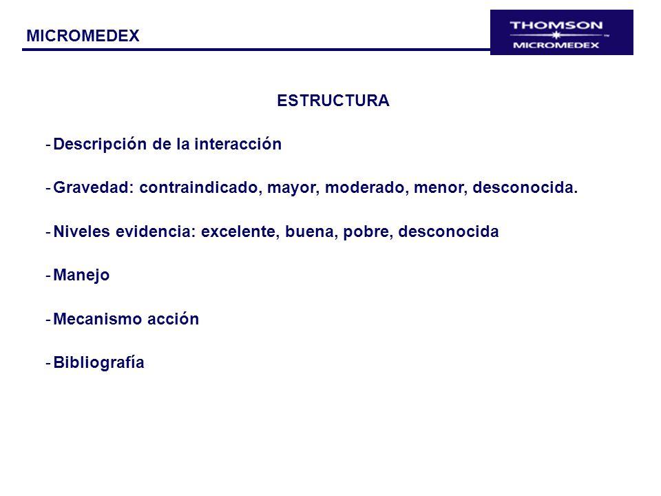 ESTRUCTURA -Descripción de la interacción -Gravedad: contraindicado, mayor, moderado, menor, desconocida. -Niveles evidencia: excelente, buena, pobre,