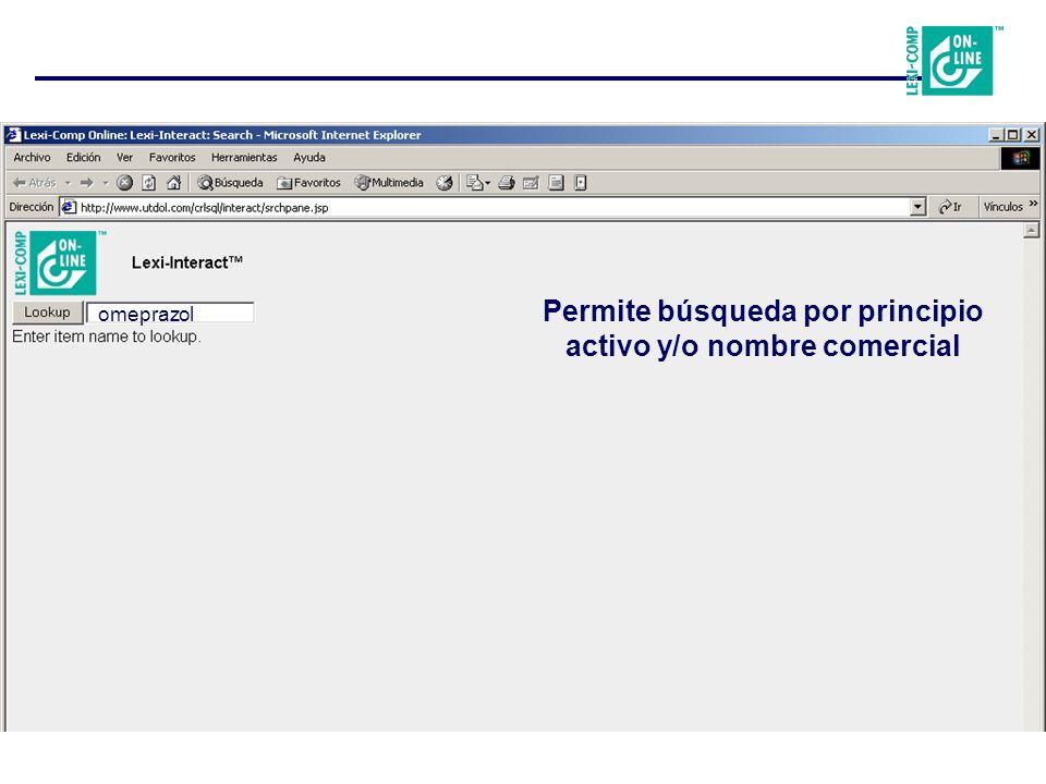 omeprazol Permite búsqueda por principio activo y/o nombre comercial