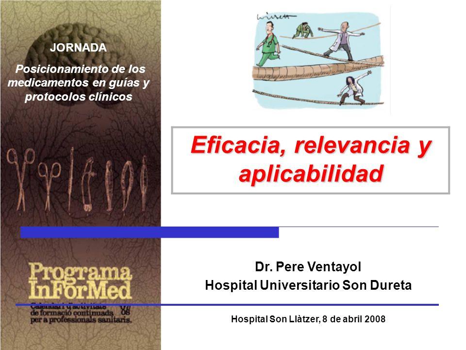 Dr. Pere Ventayol Hospital Universitario Son Dureta Hospital Son Llàtzer, 8 de abril 2008 Eficacia, relevancia y aplicabilidad JORNADA Posicionamiento