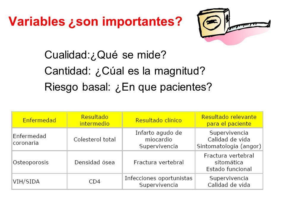 Variables ¿son importantes? Cualidad:¿Qué se mide? Cantidad: ¿Cúal es la magnitud? Riesgo basal: ¿En que pacientes?
