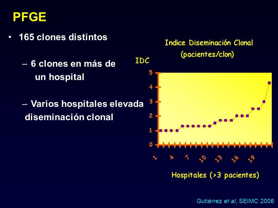 165 clones distintos –6 clones en más de un hospital –Varios hospitales elevada diseminación clonal PFGE Gutiérrez et al, SEIMC 2006