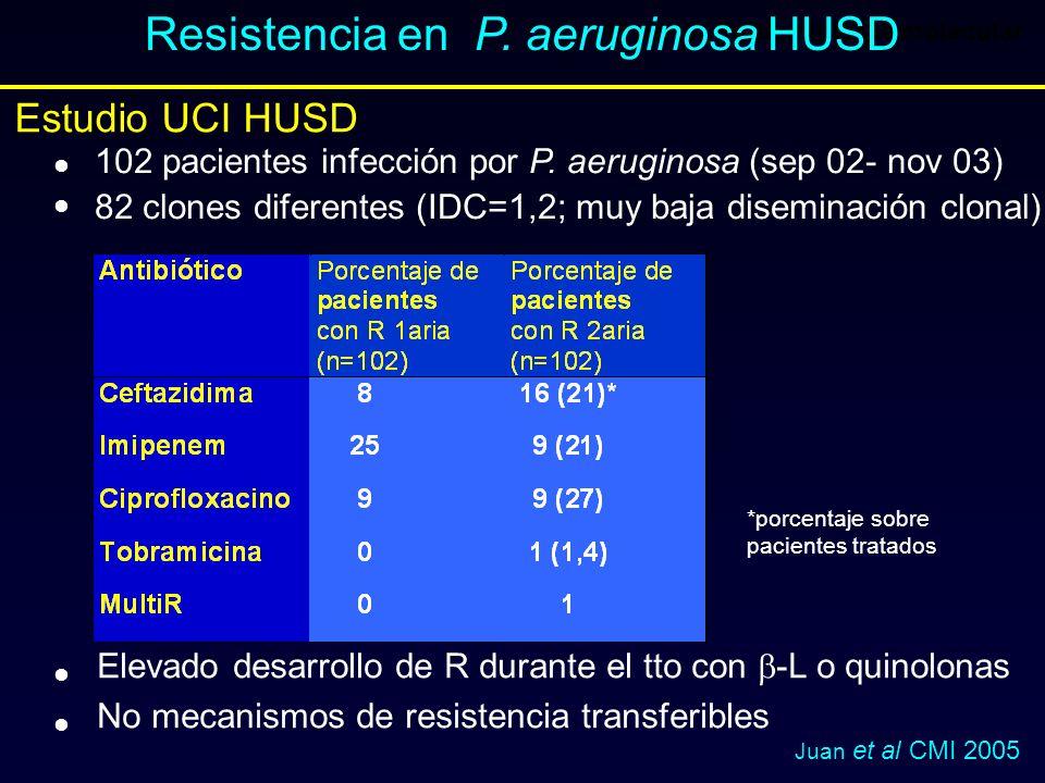 1ª parte: Epidemiología molecular Resistencia en P. aeruginosa HUSD Estudio UCI HUSD *porcentaje sobre pacientes tratados 102 pacientes infección por