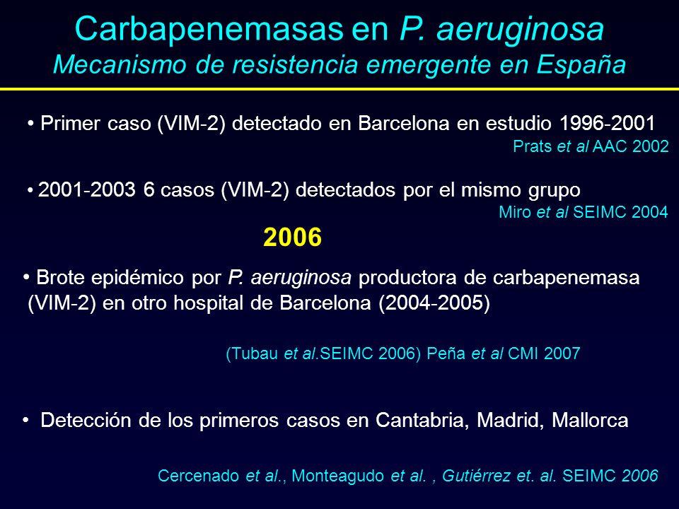 Carbapenemasas en P. aeruginosa Mecanismo de resistencia emergente en España Primer caso (VIM-2) detectado en Barcelona en estudio 1996-2001 Prats et