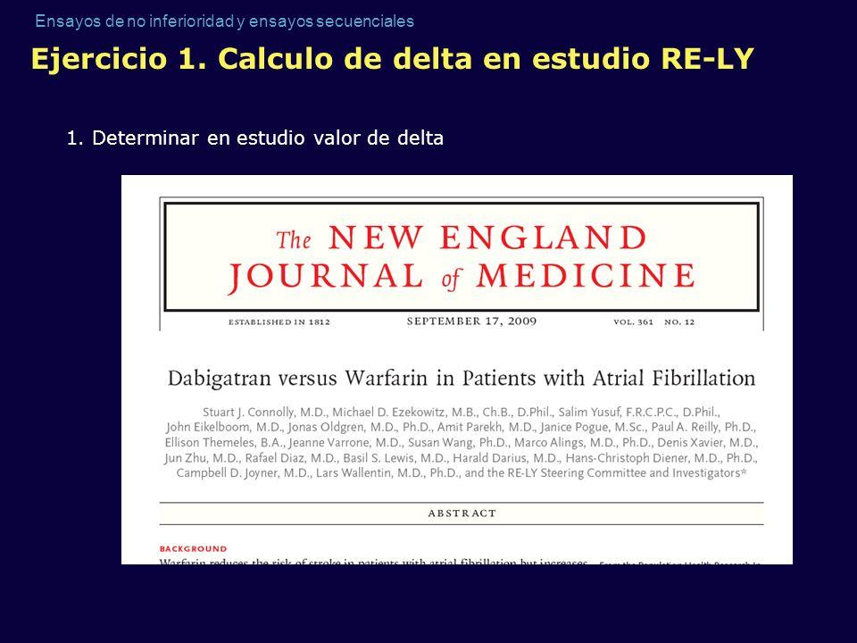 Ensayos de no inferioridad y ensayos secuenciales Ejercicio 1. Calculo de delta en estudio RE-LY 1. Determinar en estudio valor de delta