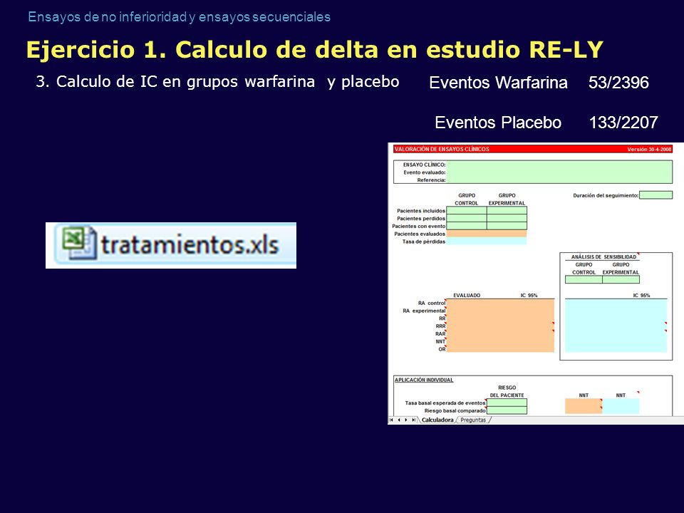 Ensayos de no inferioridad y ensayos secuenciales Ejercicio 1. Calculo de delta en estudio RE-LY 3. Calculo de IC en grupos warfarina y placebo Evento