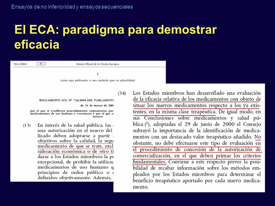 Ensayos de no inferioridad y ensayos secuenciales El ECA: paradigma para demostrar eficacia