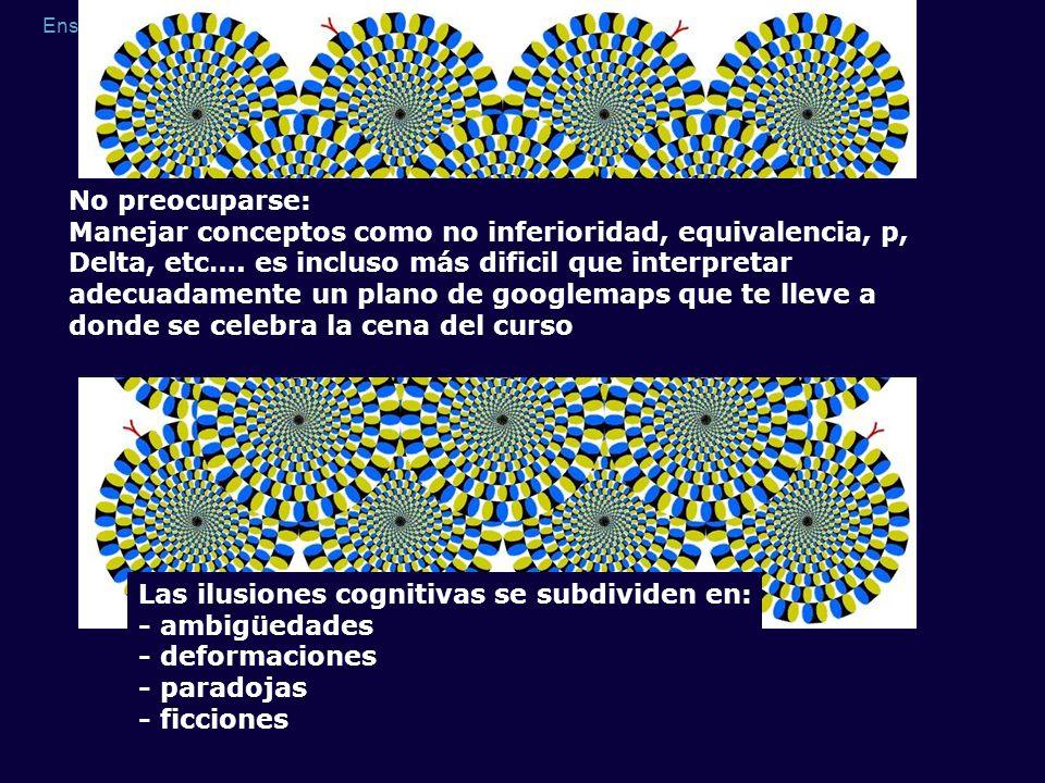 Ensayos de no inferioridad y ensayos secuenciales Las ilusiones cognitivas se subdividen en: - ambigüedades - deformaciones - paradojas - ficciones No