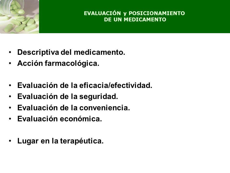 EVALUACIÓN y POSICIONAMIENTO DE UN MEDICAMENTO Descriptiva del medicamento. Acción farmacológica. Evaluación de la eficacia/efectividad. Evaluación de