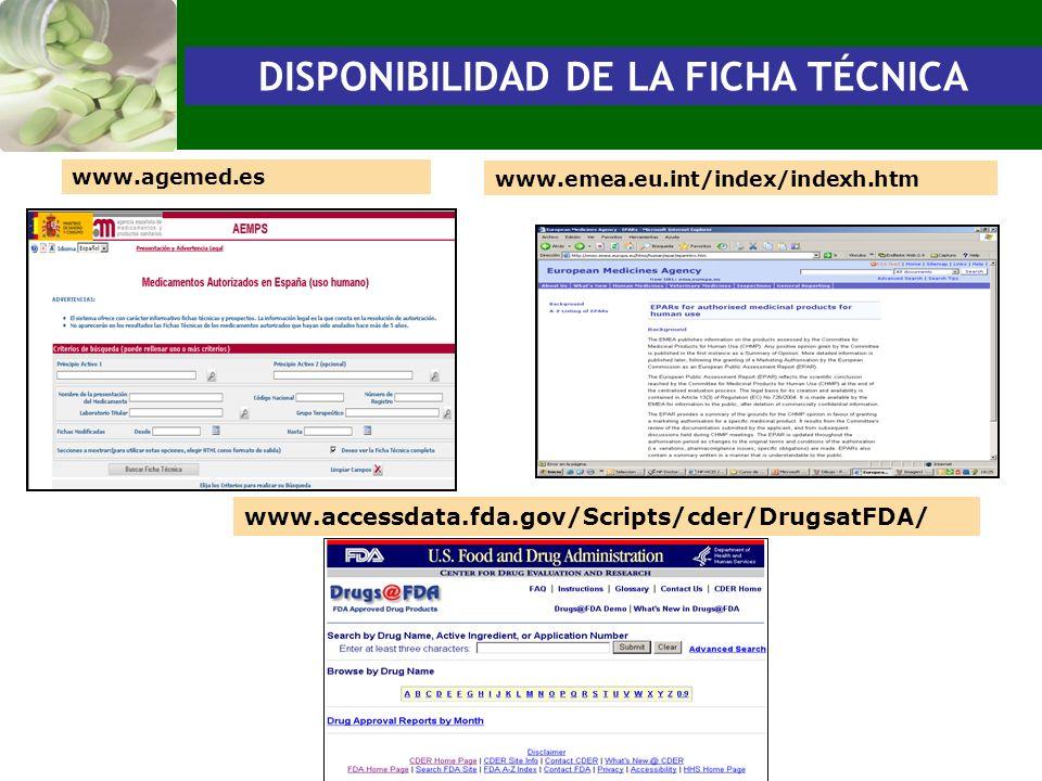 www.agemed.es www.emea.eu.int/index/indexh.htm www.accessdata.fda.gov/Scripts/cder/DrugsatFDA/ DISPONIBILIDAD DE LA FICHA TÉCNICA