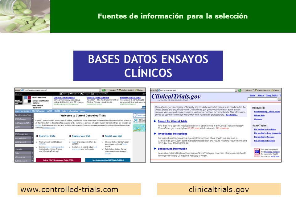 BASES DATOS ENSAYOS CLÍNICOS Fuentes de información para la selección BASES DATOS ENSAYOS CLÍNICOS www.controlled-trials.comclinicaltrials.gov