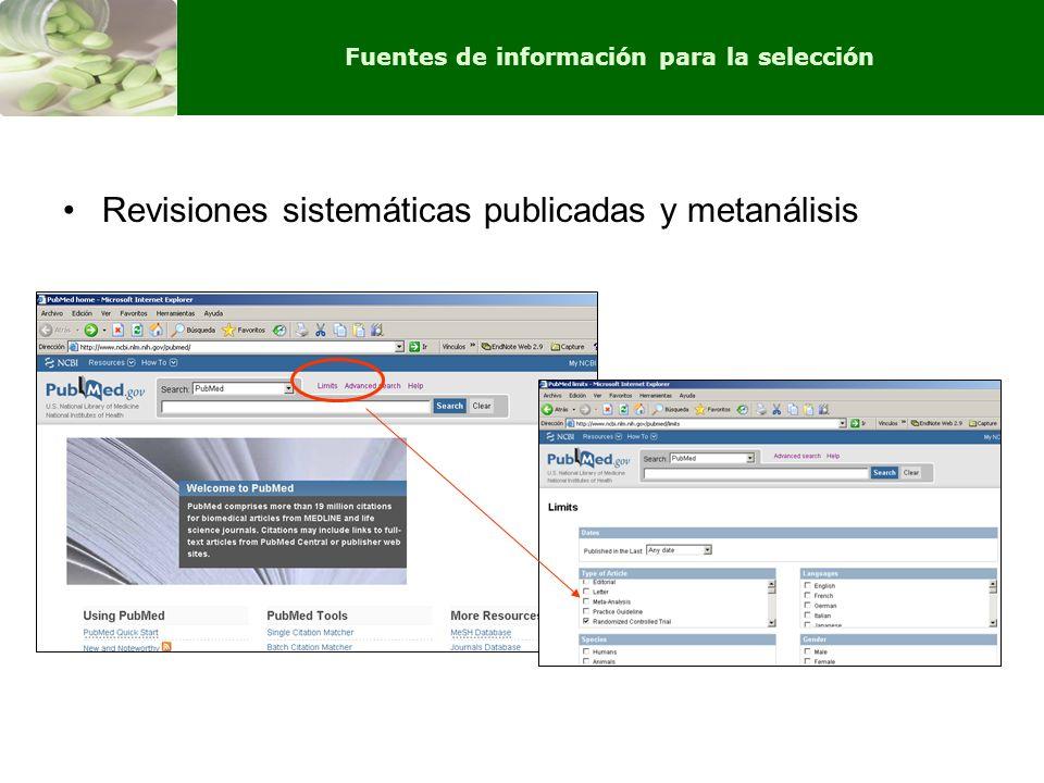 Revisiones sistemáticas publicadas y metanálisis Fuentes de información para la selección