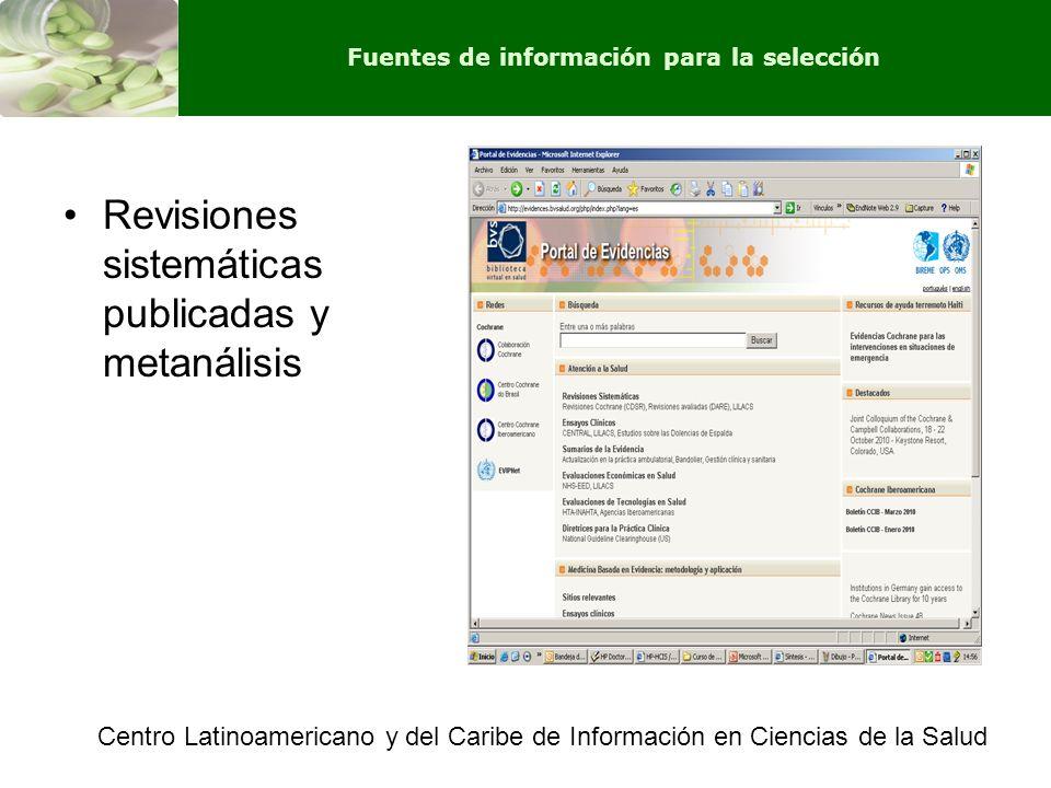Revisiones sistemáticas publicadas y metanálisis Centro Latinoamericano y del Caribe de Información en Ciencias de la Salud Fuentes de información par
