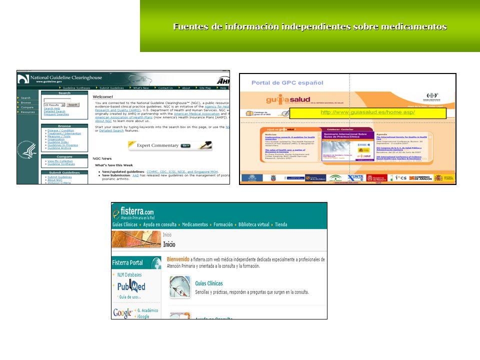 Fuentes de información independientes sobre medicamentos