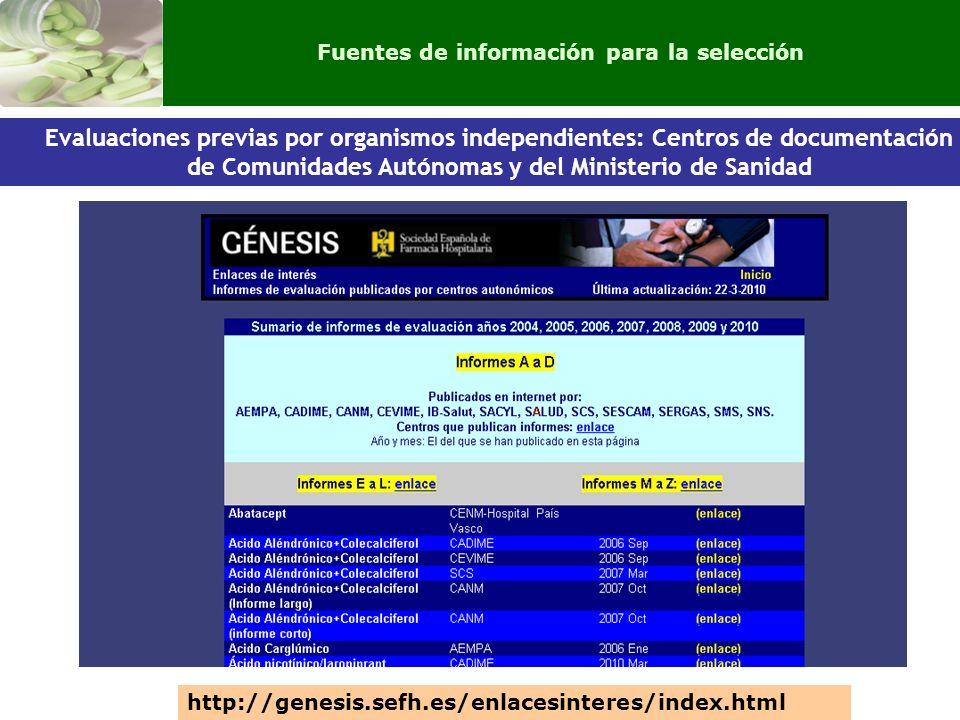 Evaluaciones previas por organismos independientes: Centros de documentación de Comunidades Autónomas y del Ministerio de Sanidad http://genesis.sefh.