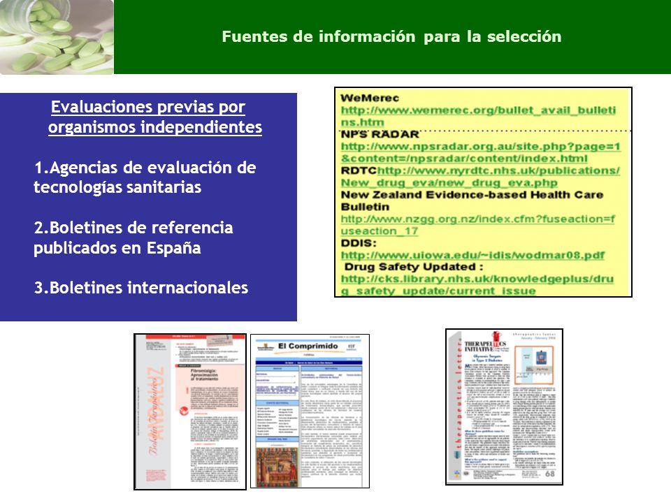 Evaluaciones previas por organismos independientes 1.Agencias de evaluación de tecnologías sanitarias 2.Boletines de referencia publicados en España 3