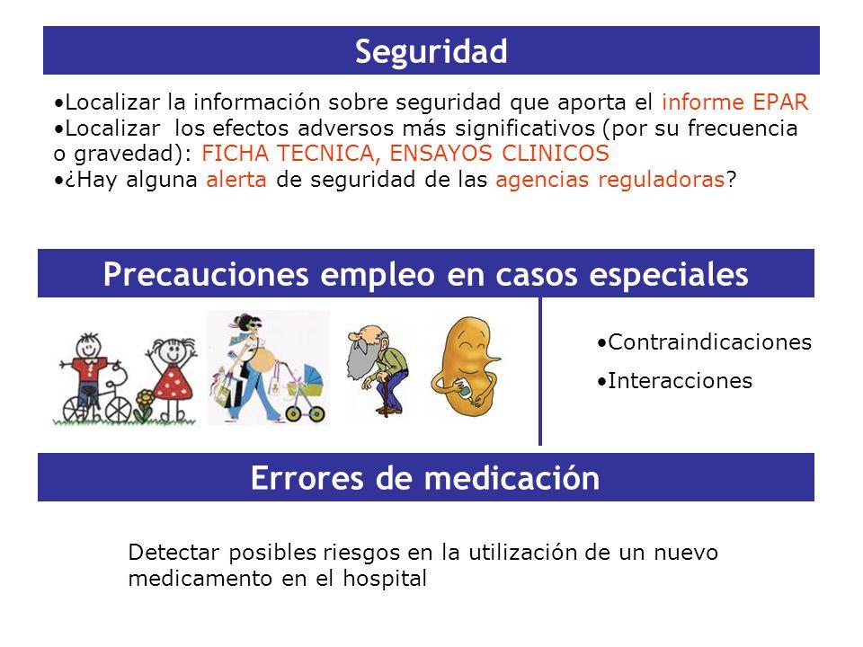 Seguridad Localizar la información sobre seguridad que aporta el informe EPAR Localizar los efectos adversos más significativos (por su frecuencia o g