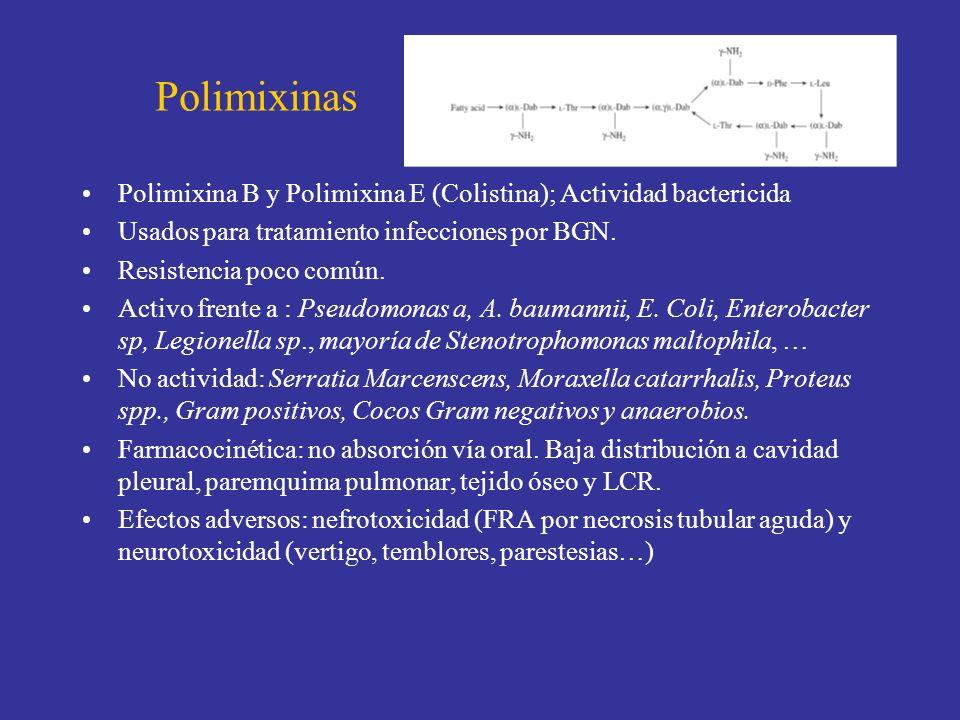 Polimixinas Polimixina B y Polimixina E (Colistina); Actividad bactericida Usados para tratamiento infecciones por BGN. Resistencia poco común. Activo