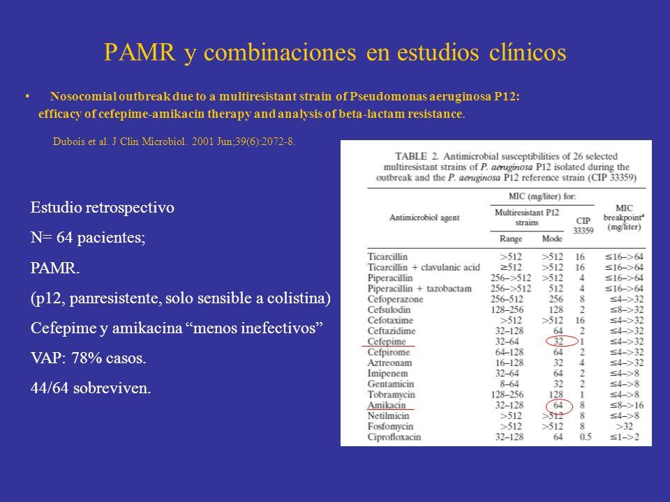 PAMR y combinaciones en estudios clínicos Nosocomial outbreak due to a multiresistant strain of Pseudomonas aeruginosa P12: efficacy of cefepime-amika