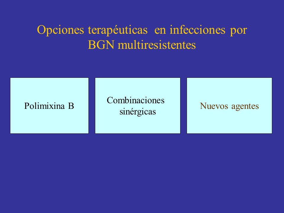 Opciones terapéuticas en infecciones por BGN multiresistentes Polimixina B Combinaciones sinérgicas Nuevos agentes