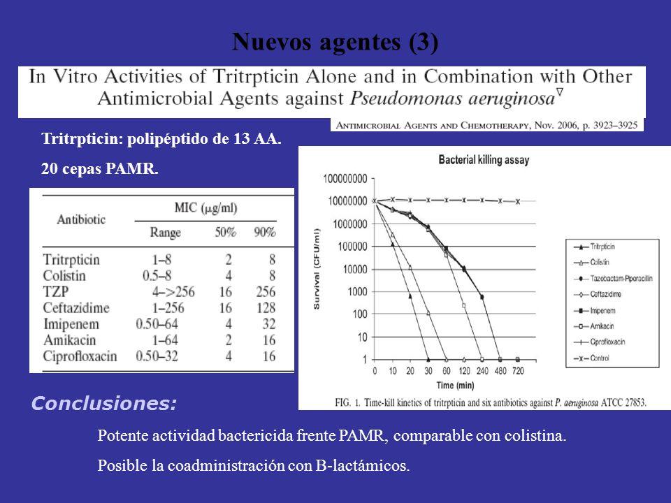 Nuevos agentes (3) Tritrpticin: polipéptido de 13 AA. 20 cepas PAMR. Conclusiones: Potente actividad bactericida frente PAMR, comparable con colistina