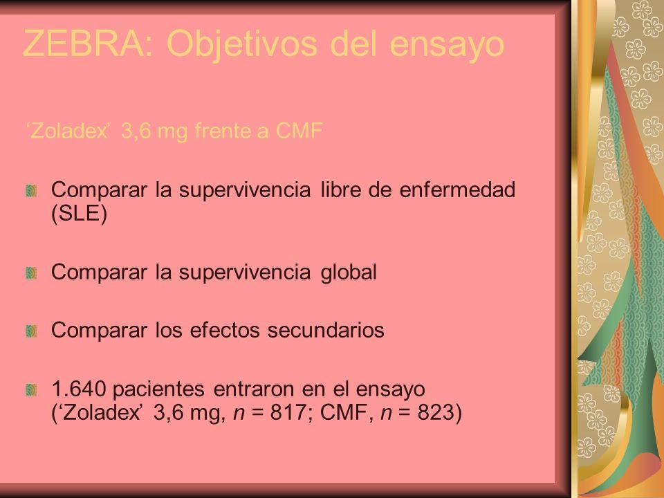 ZEBRA: Objetivos del ensayo Zoladex 3,6 mg frente a CMF Comparar la supervivencia libre de enfermedad (SLE) Comparar la supervivencia global Comparar