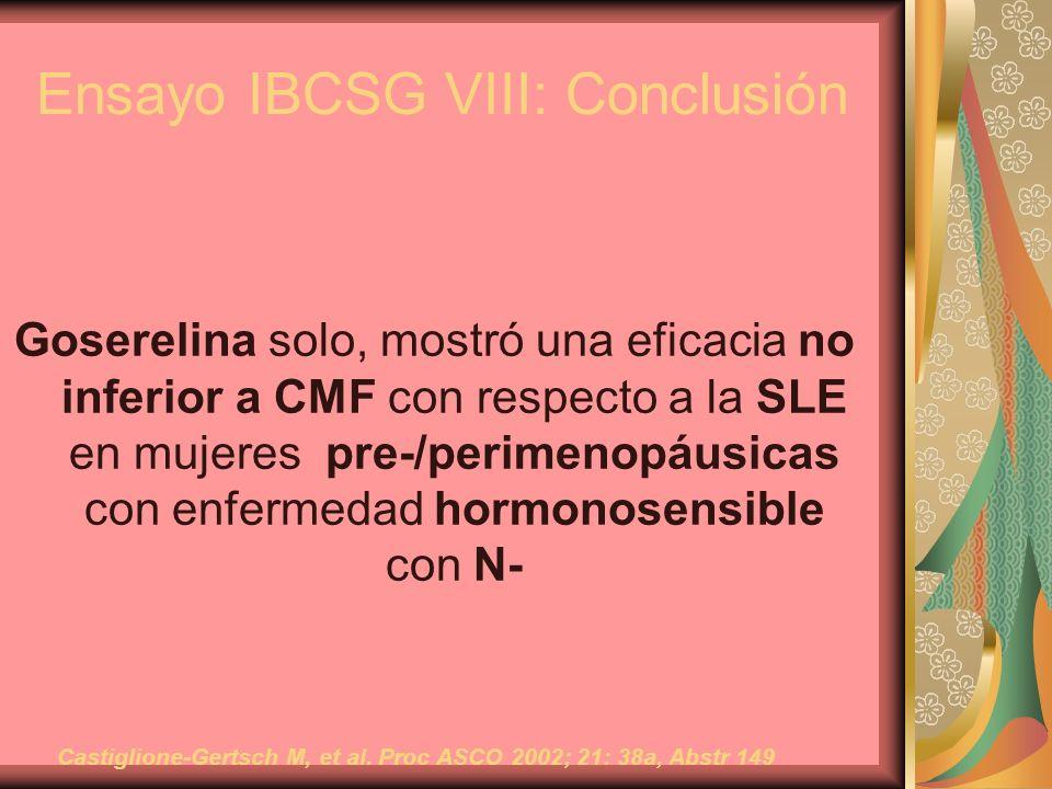 Ensayo IBCSG VIII: Conclusión Goserelina solo, mostró una eficacia no inferior a CMF con respecto a la SLE en mujeres pre-/perimenopáusicas con enferm