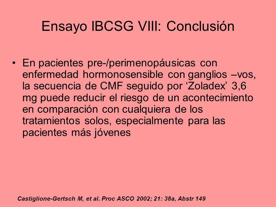 Ensayo IBCSG VIII: Conclusión En pacientes pre-/perimenopáusicas con enfermedad hormonosensible con ganglios –vos, la secuencia de CMF seguido por Zol