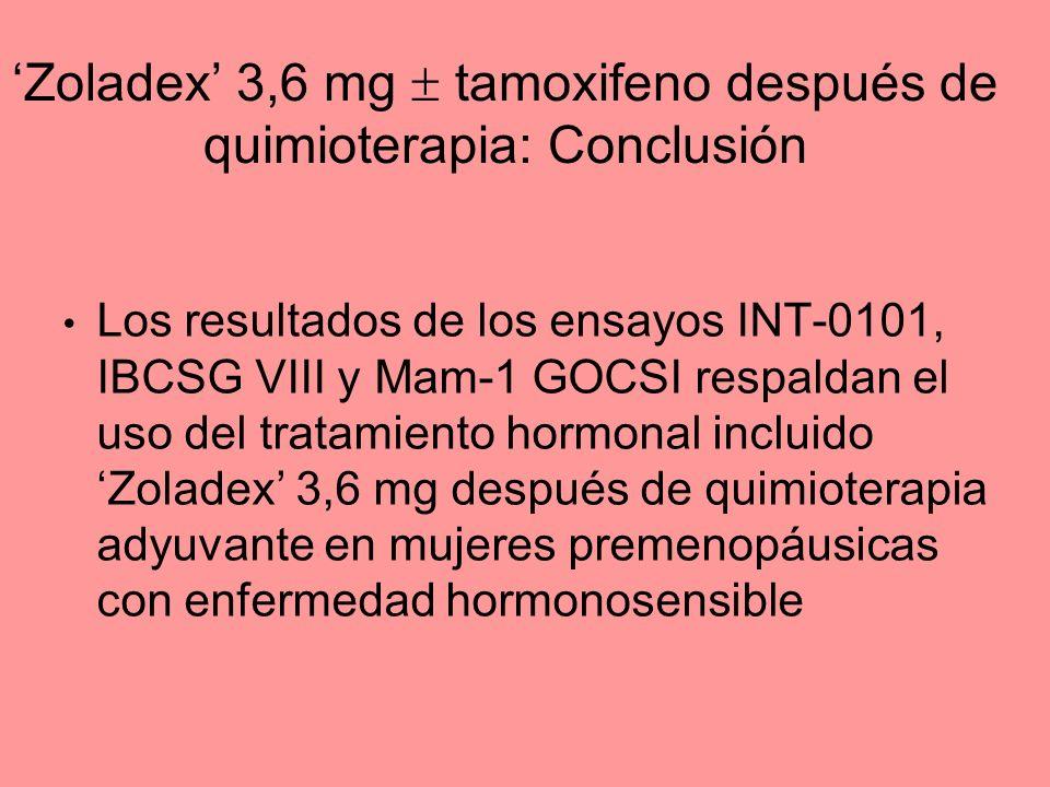 Zoladex 3,6 mg tamoxifeno después de quimioterapia: Conclusión Los resultados de los ensayos INT-0101, IBCSG VIII y Mam-1 GOCSI respaldan el uso del t