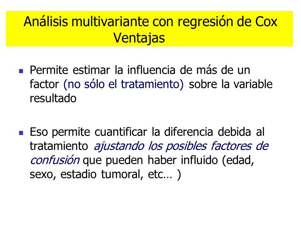 Análisis multivariante con regresión de Cox Ventajas Permite estimar la influencia de más de un factor (no sólo el tratamiento) sobre la variable resu