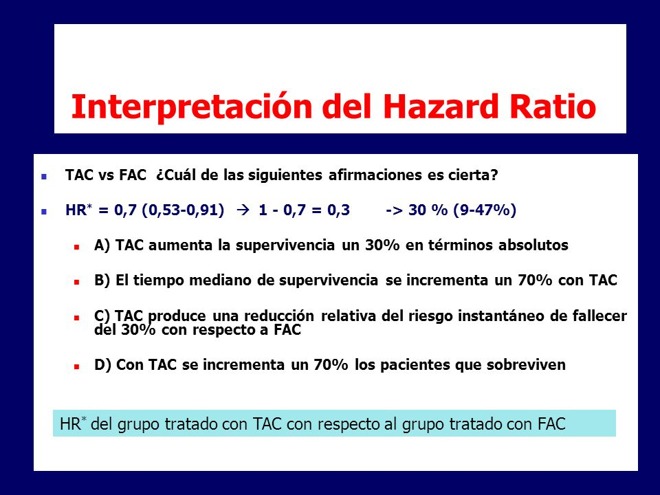 Interpretación del Hazard Ratio TAC vs FAC ¿Cuál de las siguientes afirmaciones es cierta? HR * = 0,7 (0,53-0,91) 1 - 0,7 = 0,3 -> 30 % (9-47%) A) TAC