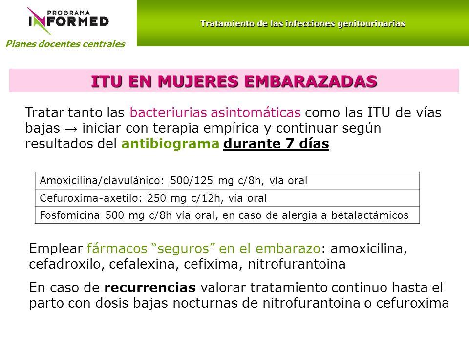 Planes docentes centrales Tratamiento de las infecciones genitourinarias ITU EN MUJERES EMBARAZADAS Tratar tanto las bacteriurias asintomáticas como l
