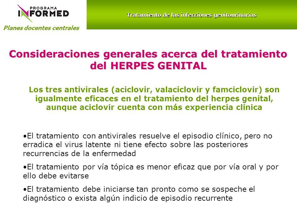 Planes docentes centrales Tratamiento de las infecciones genitourinarias Consideraciones generales acerca del tratamiento del HERPES GENITAL Los tres