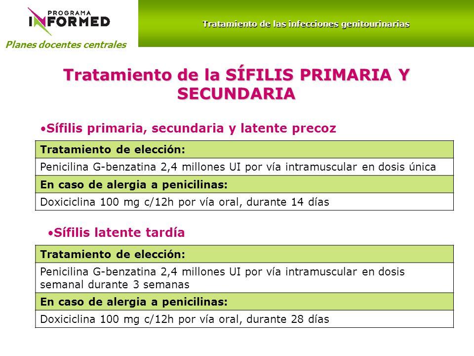 Planes docentes centrales Tratamiento de las infecciones genitourinarias Tratamiento de la SÍFILIS PRIMARIA Y SECUNDARIA Sífilis primaria, secundaria