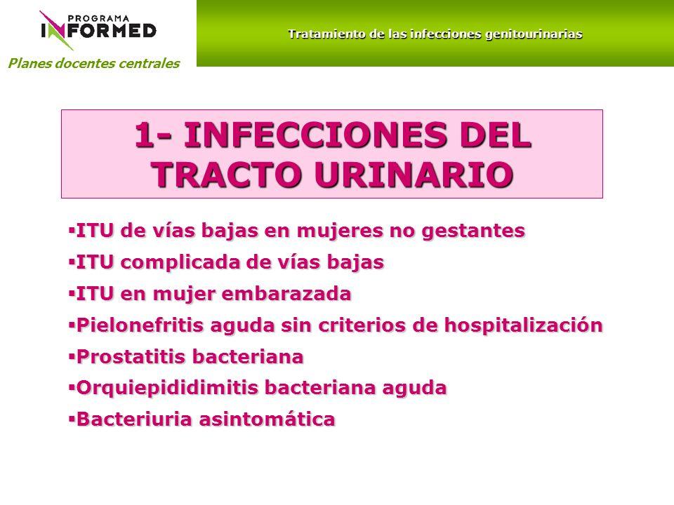 Planes docentes centrales Tratamiento de las infecciones genitourinarias 1- INFECCIONES DEL TRACTO URINARIO ITU de vías bajas en mujeres no gestantes