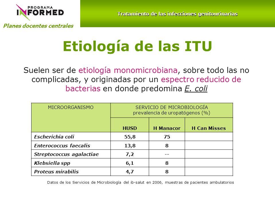 Planes docentes centrales Tratamiento de las infecciones genitourinarias MICROORGANISMOSERVICIO DE MICROBIOLOGÍA prevalencia de uropatógenos (%) HUSDH