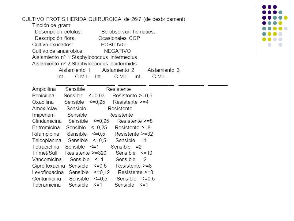 CULTIVO FROTIS HERIDA QUIRURGICA de 26/7 (de desbridament) Tinción de gram: Descripción células: Se observan hematies. Descripción flora: Ocasionales