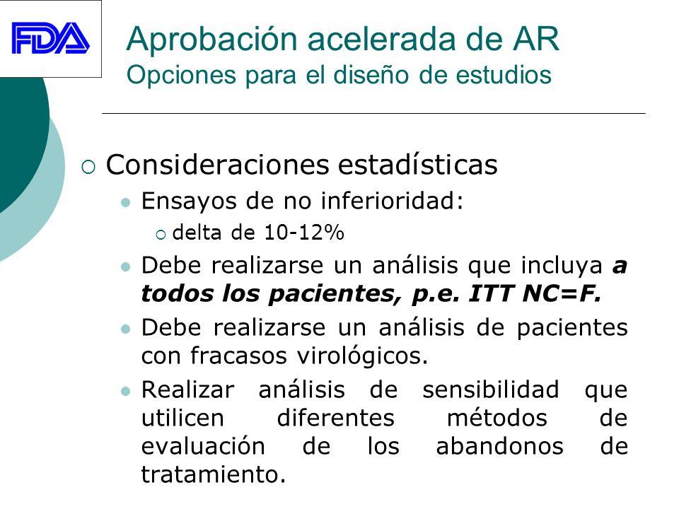 Aprobación acelerada de AR Opciones para el diseño de estudios Consideraciones estadísticas Ensayos de no inferioridad: delta de 10-12% Debe realizarse un análisis que incluya a todos los pacientes, p.e.