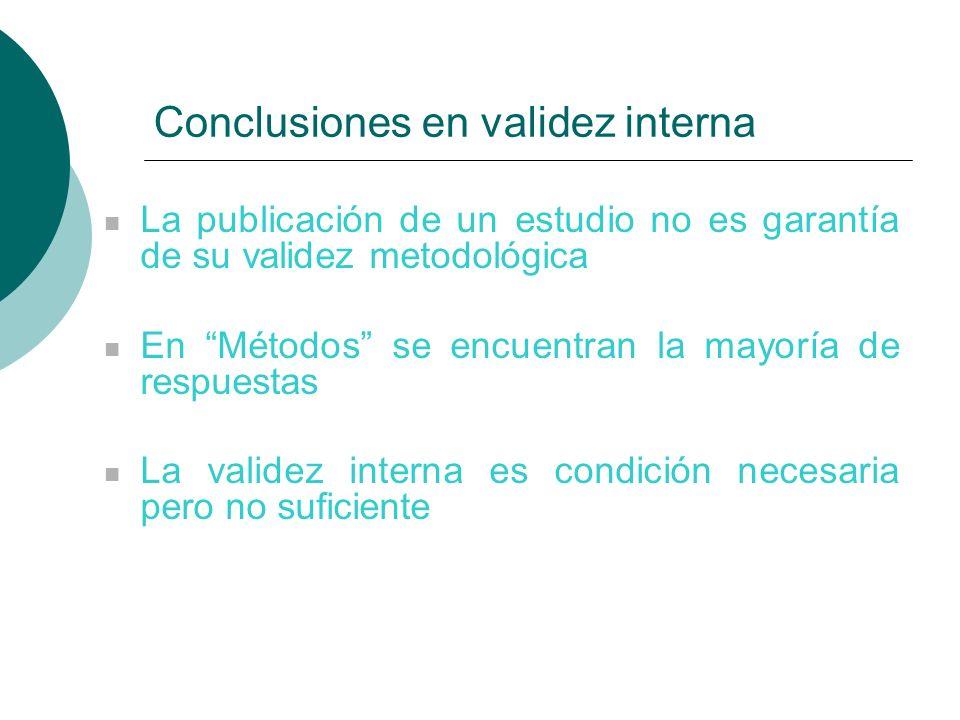 Conclusiones en validez interna La publicación de un estudio no es garantía de su validez metodológica En Métodos se encuentran la mayoría de respuestas La validez interna es condición necesaria pero no suficiente