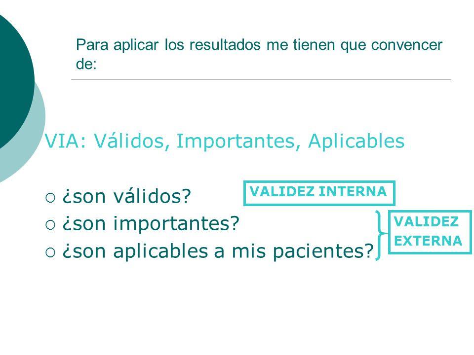 VIA: Válidos, Importantes, Aplicables ¿son válidos? ¿son importantes? ¿son aplicables a mis pacientes? Para aplicar los resultados me tienen que conve
