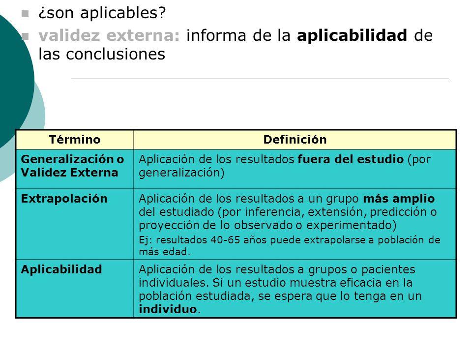 TérminoDefinición Generalización o Validez Externa Aplicación de los resultados fuera del estudio (por generalización) ExtrapolaciónAplicación de los