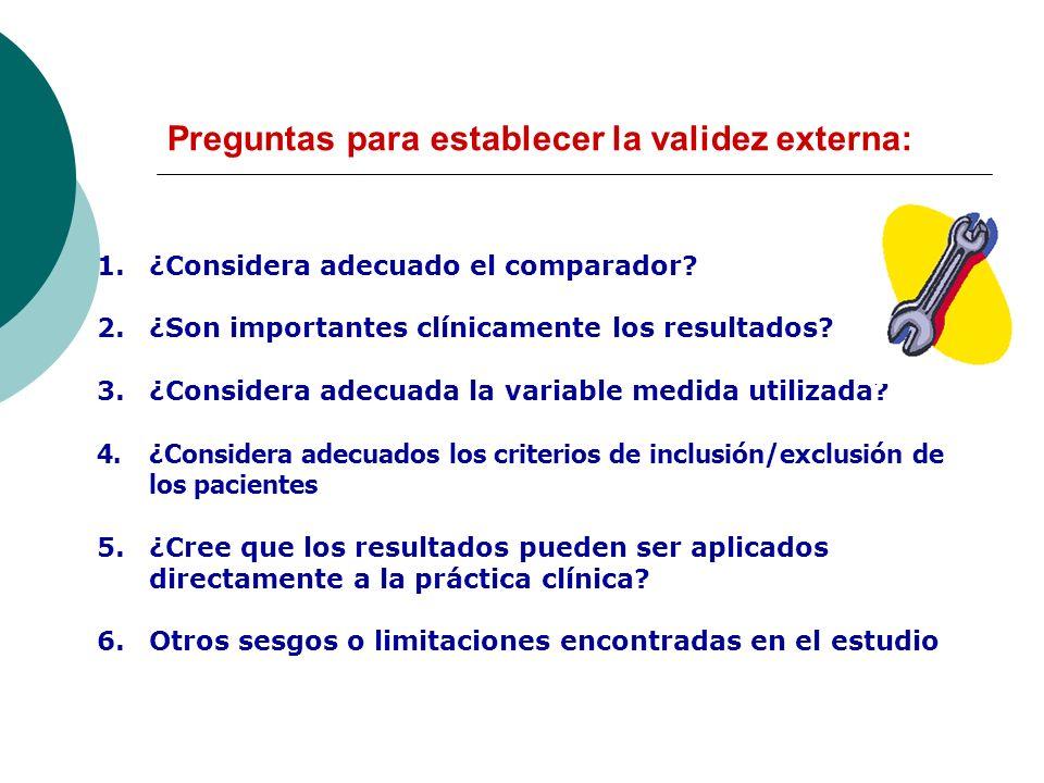 Preguntas para establecer la validez externa: 1.¿Considera adecuado el comparador? 2.¿Son importantes clínicamente los resultados? 3.¿Considera adecua