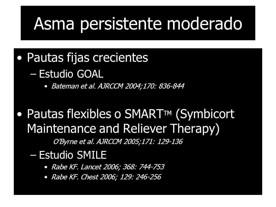 Asma persistente moderado Pautas fijas crecientes –Estudio GOAL Bateman et al. AJRCCM 2004;170: 836-844 Pautas flexibles o SMART TM (Symbicort Mainten