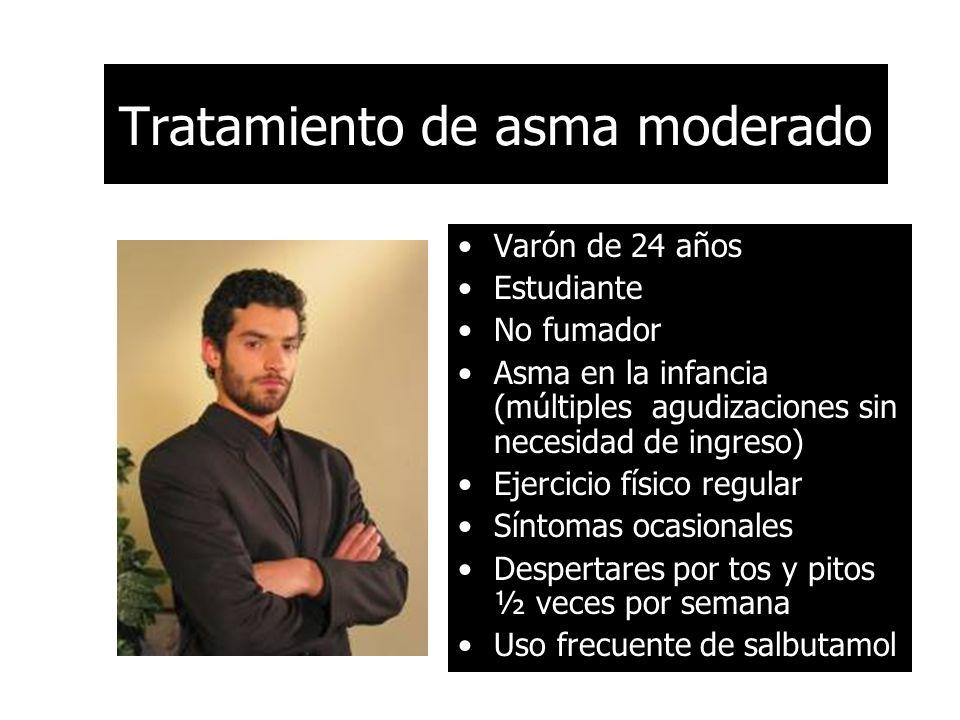 Tratamiento de asma moderado Varón de 24 años Estudiante No fumador Asma en la infancia (múltiples agudizaciones sin necesidad de ingreso) Ejercicio f