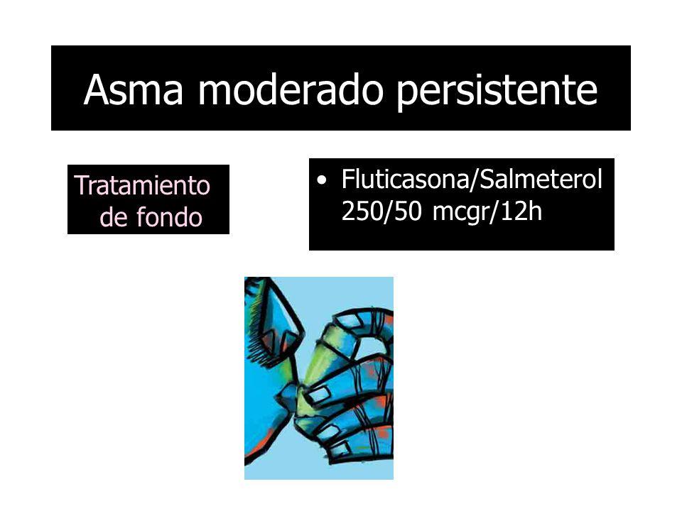 FEV1/FVC: 82% FEV1: 3.16 (82%) FVC: 3.85 (82%) PBD negativo 6% FENO: 10 ppb Asma moderado persistente
